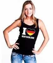 Zwart i love duitsland fan singlet-shirt t-shirt zonder mouw dames