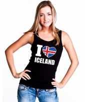 Zwart i love ijsland fan singlet-shirt t-shirt zonder mouw dames