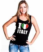 Zwart i love italie fan singlet-shirt t-shirt zonder mouw dames