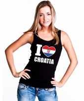 Zwart i love kroatie fan singlet-shirt t-shirt zonder mouw dames