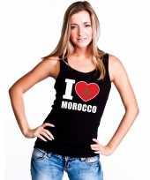 Zwart i love marokko fan singlet-shirt t-shirt zonder mouw dames
