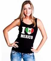 Zwart i love mexico fan singlet-shirt t-shirt zonder mouw dames