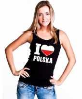 Zwart i love polen fan singlet-shirt t-shirt zonder mouw dames