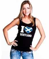 Zwart i love schotland fan singlet-shirt t-shirt zonder mouw dames
