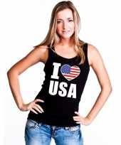 Zwart i love usa amerika fan singlet-shirt t-shirt zonder mouw dames
