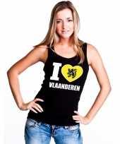 Zwart i love vlaanderen t-shirt zonder mouw dames