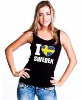 Zwart i love zweden fan singlet-shirt t-shirt zonder mouw dames