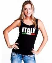 Zwart italie supporter singlet-shirt t-shirt zonder mouw dames