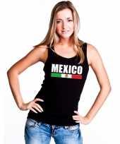 Zwart mexico supporter singlet-shirt t-shirt zonder mouw dames
