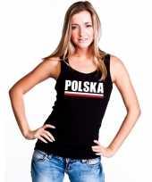 Zwart polen supporter singlet-shirt t-shirt zonder mouw dames