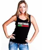 Zwart portugal supporter singlet-shirt t-shirt zonder mouw dames