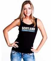 Zwart schotland supporter singlet-shirt t-shirt zonder mouw dames