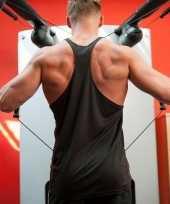 Zwart sport fitness shirt t shirt zonder mouw heren