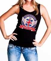 Zwart united kingdom drinking team t shirt zonder mouw mouwloos shirt dames