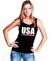 Zwart usa supporter singlet-shirt t-shirt zonder mouw dames