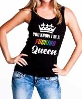 Zwart you know i am a fucking queen t-shirt zonder mouw dames