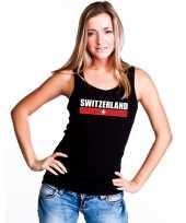 Zwart zwitserland supporter singlet-shirt t-shirt zonder mouw dames